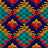 Seamless knitted multicolour geometric motley pattern Royalty Free Stock Photo