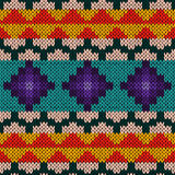 Seamless knitted multicolour geometric pattern Royalty Free Stock Photography
