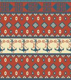 Seamless knitted pattern with anchor Royalty Free Stock Photos