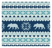 Seamless knitted pattern with bears Royalty Free Stock Photo