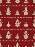 Seamless knitted pattern with Christmas trees and snowmen on a red background. Christmas background. Ornament. Vector illustration vector illustration
