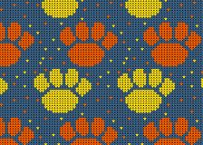 Seamless Knitted Pattern with dog paw Background. Knitting Sweater Design Stock Photography