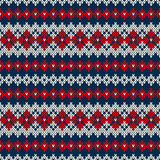Seamless knitted pattern in Fair Isle style. Nordic traditional Fair Isle style seamless pattern on the wool knitted texture. EPS available Royalty Free Stock Image