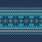 Seamless Knitted Pattern. Festive and Fashionable Sweater Design. Seamless pattern ornament on the wool knitted texture. EPS available Royalty Free Stock Images