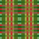 Seamless knitted pattern in green and red colors Royalty Free Stock Photography
