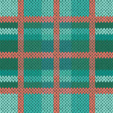 Seamless knitted pattern in green, turquoise and terracotta hues Stock Image