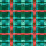 Seamless knitted pattern in green, turquoise and terracotta Royalty Free Stock Photos