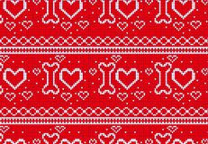 Seamless Knitted Pattern with heart and bone Background. Knitting Sweater Design Royalty Free Stock Photography