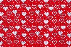 Seamless Knitted Pattern with hearts Background. Knitting Sweater Design Royalty Free Stock Photo