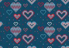 Seamless Knitted Pattern with hearts Background. Knitting Sweater Design Stock Photos
