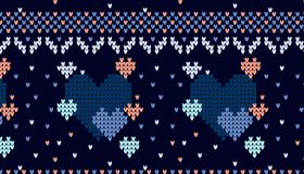 Seamless Knitted Pattern with hearts Background. Knitting Sweater Design Royalty Free Stock Photos