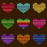 Seamless knitted pattern with hearts Royalty Free Stock Photos