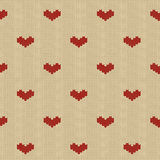 Seamless knitted pattern with hearts Stock Image
