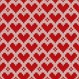 Seamless knitted pattern with hearts. Valentine's Day background Royalty Free Stock Image