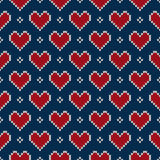 Seamless Knitted Pattern with Hearts. Valentine's Day Background Stock Photo