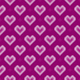 Seamless Knitted Pattern with Hearts. Valentine`s Day Background Royalty Free Stock Photos