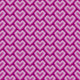 Seamless Knitted Pattern with Hearts. Valentine`s Day Background Royalty Free Stock Photo