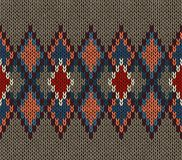 Seamless Knitted Pattern. Red Blue White Brown Color. Fashionable youth modern style Royalty Free Stock Photography