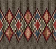 Seamless Knitted Pattern. Red Blue White Brown Color. Fashionable youth modern style Stock Image