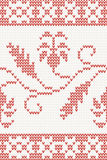 Seamless knitted pattern with red flower Royalty Free Stock Image