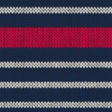 Seamless knitted pattern with red white stripes Royalty Free Stock Photography
