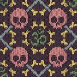 Seamless knitted pattern with sacred Hinduism symbol. Sacred syllable, symbol or mantra Om. Pink skull and bones. Seamless knitted pattern with sacred Hinduism vector illustration