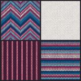 Seamless knitted pattern. Set of blue pink white gray color backgrounds.  Stock Images
