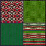 Seamless Knitted Pattern. Set of Christmas Samples. Collection o Stock Image