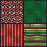 Seamless Knitted Pattern. Set of Christmas Samples. Collection Royalty Free Stock Photos