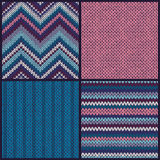 Seamless knitted pattern. Set. collection of blue pink white. Gray color backgrounds Royalty Free Stock Images