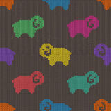 Seamless knitted pattern with sheep Royalty Free Stock Photography