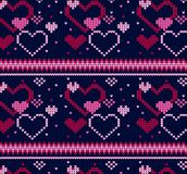 Seamless Knitted Pattern with Snowflakes Background. Seamless Knitted Pattern with hearts Background. Knitting Sweater Design Royalty Free Stock Photography