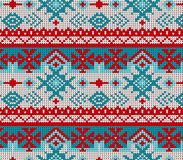 Seamless Knitted Pattern with Snowflakes Background. Knitting Sweater Design Stock Photos