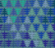 Seamless knitted pattern with trees Stock Photography