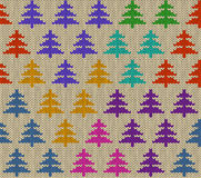 Seamless knitted pattern with trees Royalty Free Stock Photos