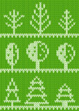 Seamless knitted pattern with trees Royalty Free Stock Photo