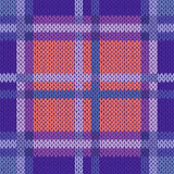 Seamless knitted pattern in violet, blue and terracotta hues Stock Photo