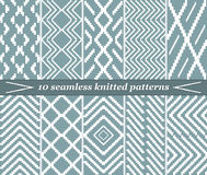 10 seamless knitted patterns in blue-grey color. Set of 10 different seamless knitted patterns in blue-grey color. Elegant stepped geometric prints. Vector Stock Illustration