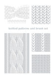 Seamless knitted patterns and brush set Royalty Free Stock Photos