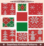Seamless knitted patterns Christmas collection. Set of 10 seamless knitted patterns for Christmas, winter and New Year designs and projects. All patterns come as Stock Photo