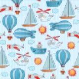 Seamless knitted transportation pattern. Royalty Free Stock Photo