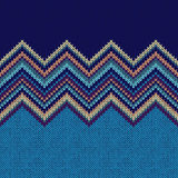 Seamless knitting Christmas pattern with wave ornament Royalty Free Stock Images