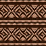 Seamless knitting geometrical pattern in brown hues Stock Photography