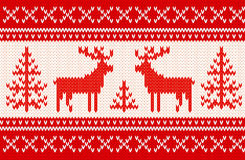 Seamless knitting pattern with deers Royalty Free Stock Image