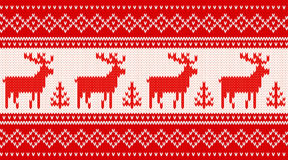 Seamless knitting pattern with deers Royalty Free Stock Images