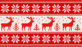 Seamless knitting pattern with deers and nordic stars Royalty Free Stock Photography