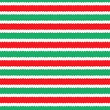 Seamless knitting pattern with green, white and red stripes. stock image