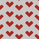 Seamless knitting pattern with Hearts Royalty Free Stock Photography