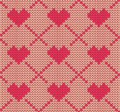 Seamless knitting pattern with hearts Stock Photography