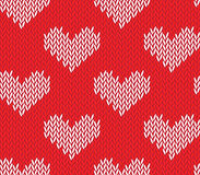 Seamless knitting pattern with hearts. Saint Valentine's Day seamless knitting pattern with hearts Stock Image